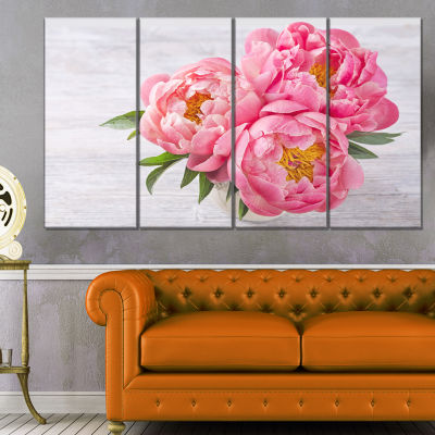 Designart Bunch Of Peony Flowers In Vase Canvas Art Print - 4 Panels