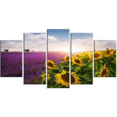 Designart Lavender And Sunflower Fields (373) Canvas Art Print - 5 Panels