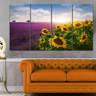 Design Art Lavender And Sunflower Fields Canvas Art Print - 4 Panels