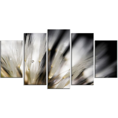Designart Dandelion Close Up With Dewdrops Flowers(373) Canvas Wall Art work - 5 Panels
