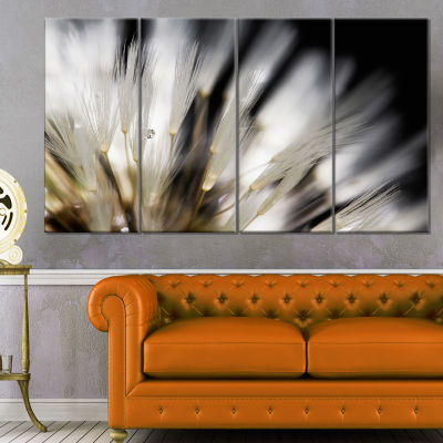 Designart Dandelion Close Up With Dewdrops FlowersCanvas Wall Artwork - 4 Panels