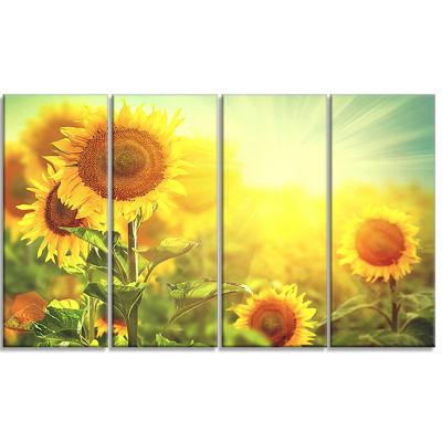 Designart Sunflowers Blooming On The Field AnimalCanvas Art Print - 4 Panels