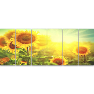 Designart Sunflowers Blooming On The Field AnimalCanvas Art Print - 6 Panels