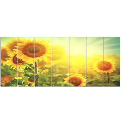 Designart Sunflowers Blooming On The Field AnimalCanvas Art Print - 7 Panels
