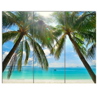 Designart Palm Hanging Over Sandy White Beach Seashore Photo Canvas Art Print - 3 Panels