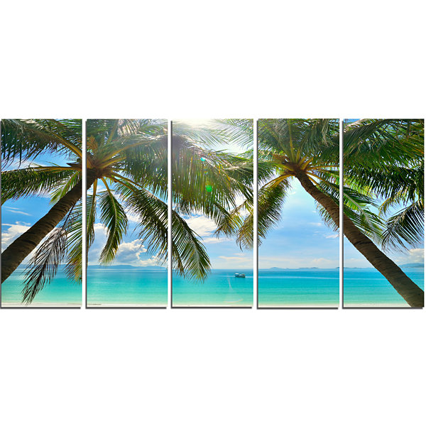 Design Art Palm Hanging Over Sandy White Beach Seashore Photo Canvas Art Print - 5 Panels