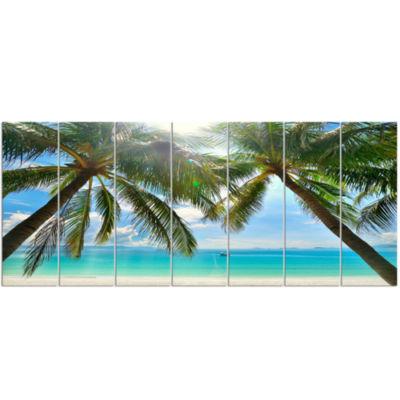 Design Art Palm Hanging Over Sandy White Beach Seashore Photo Canvas Art Print - 7 Panels