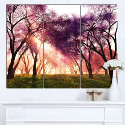 Design Art Cherry Blossoms Japan Garden LandscapeCanvas Art Print - 3 Panels