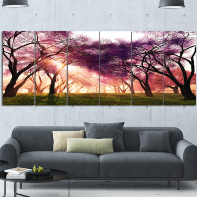 Designart Cherry Blossoms Japan Garden LandscapeCanvas Art Print - 6 Panels