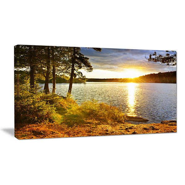 Designart Beautiful View Of Sunset Over Lake Landscape Canvas Art Print