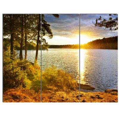 Designart Beautiful View Of Sunset Over Lake Landscape Canvas Art Print - 3 Panels