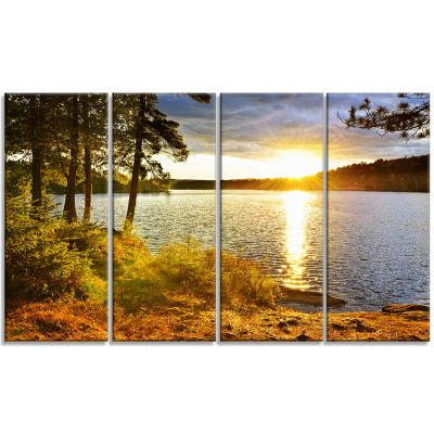 Designart Beautiful View Of Sunset Over Lake Landscape Canvas Art Print - 4 Panels