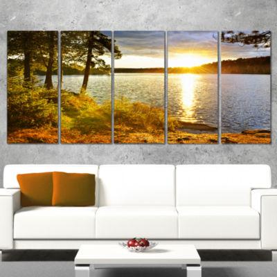 Designart Beautiful View Of Sunset Over Lake Landscape Canvas Art Print - 5 Panels