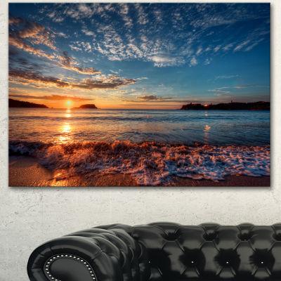 Designart Tranquil Beach And Whimsical Clouds Seashore Photo Canvas Art Print
