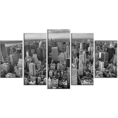 Designart Panoramic Aerial View Of Manhattan (373)Modern Cityscape Canvas Art Print - 5 Panels