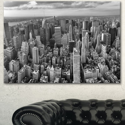 Designart Panoramic Aerial View Of Manhattan Modern Cityscape Canvas Art Print