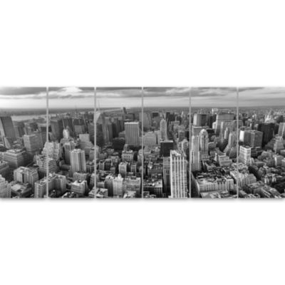 Design Art Panoramic Aerial View Of Manhattan Modern Cityscape Canvas Art Print - 6 Panels
