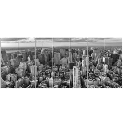 Designart Panoramic Aerial View Of Manhattan Modern Cityscape Canvas Art Print - 7 Panels