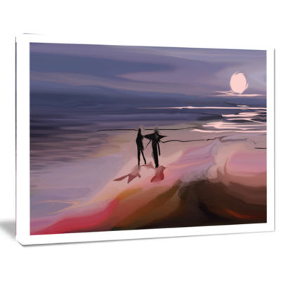 Designart Couple Walking Near Ocean At Night Seashore Photo Canvas Art Print