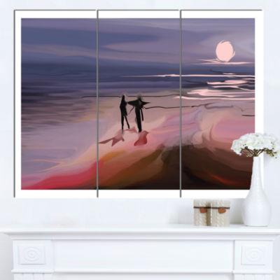Designart Couple Walking Near Ocean At Night Seashore Photo Canvas Art Print - 3 Panels