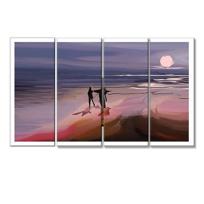 Designart Couple Walking Near Ocean At Night Seashore Photo Canvas Art Print - 4 Panels
