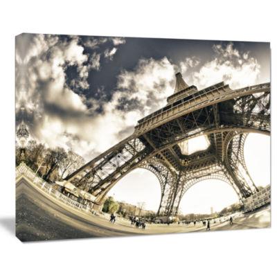 Design art Paris Eiffel Tower in Sunny Winter Morning Canvas Art Print