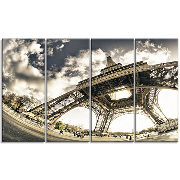 Designart Paris Eiffel Tower in Sunny Winter Morning Canvas Art Print - 4 Panels