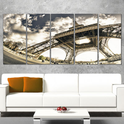 Designart Paris Eiffel Tower in Sunny Winter Morning Canvas Art Print - 5 Panels