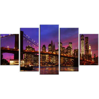 Designart Brooklyn Bridge And Manhattan At SunsetCanvas Art Print - 5 Panels
