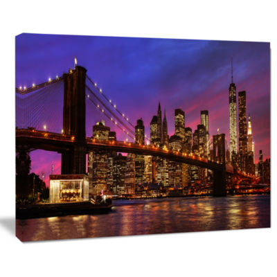 Design Art Brooklyn Bridge And Manhattan At Sunset Pink Canvas Art Print