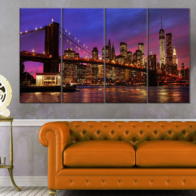 Designart Brooklyn Bridge And Manhattan At SunsetPink Canvas Art Print - 4 Panels