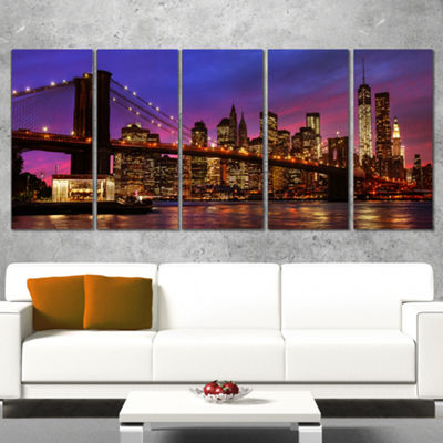 Designart Brooklyn Bridge And Manhattan At SunsetPink Canvas Art Print - 5 Panels