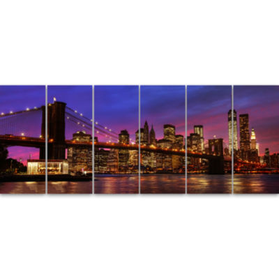 Designart Brooklyn Bridge And Manhattan At SunsetPink Canvas Art Print - 6 Panels