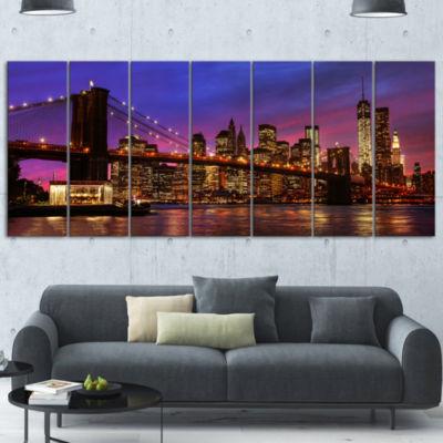 Designart Brooklyn Bridge And Manhattan At SunsetPink Canvas Art Print - 7 Panels