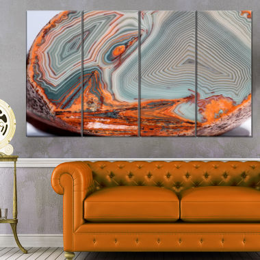 Designart Beautiful Lake Superior Agate Abstract Canvas Art Print - 4 Panels