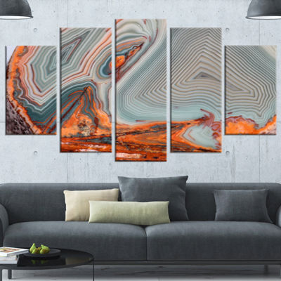 Designart Beautiful Lake Superior Agate Contemporary Canvas Art Print - 5 Panels