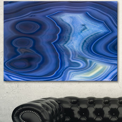 Design art Blue Agate Stone Design Abstract Canvas Wall Art Print