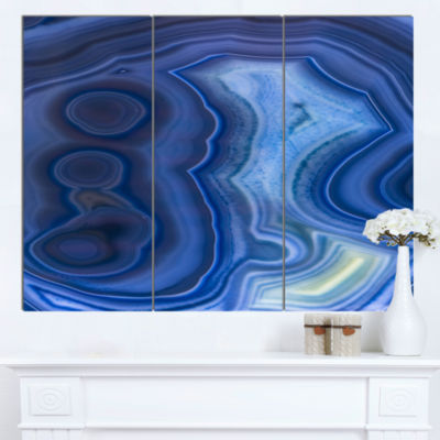 Design Art Blue Agate Stone Design Abstract Canvas Wall Art Print - 3 Panels