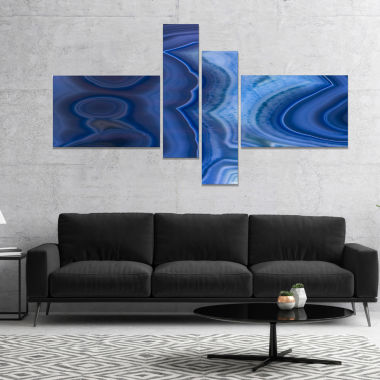 Designart Blue Agate Stone Design Abstract CanvasWall Art Print - 4 Panels