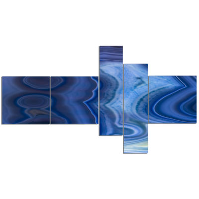 Designart Blue Agate Stone Design Abstract CanvasWall Art Print - 5 Panels