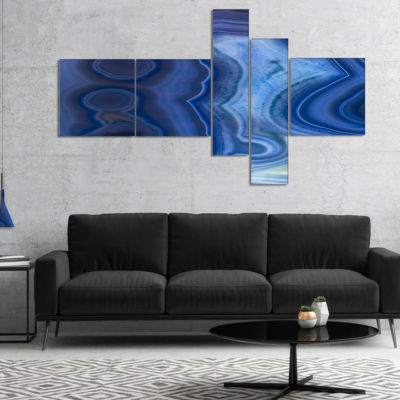 Design Art Blue Agate Stone Design Abstract Canvas Wall Art Print - 5 Panels