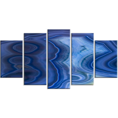 Designart Blue Agate Stone Design Contemporary Canvas Wall Art Print - 5 Panels