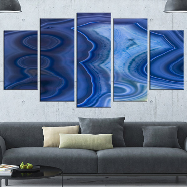 Design Art Blue Agate Stone Design Contemporary Canvas Wall Art Print - 5 Panels