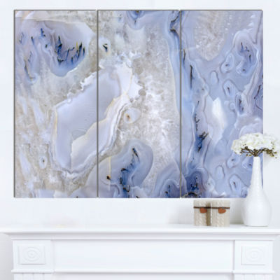 Designart Agate Stone Background Abstract Canvas Wall Art Print - 3 Panels