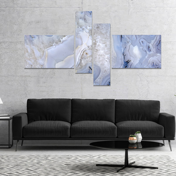 Designart Agate Stone Background Abstract Canvas Wall Art Print - 4 Panels