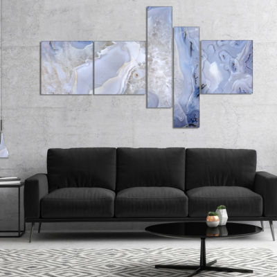 Designart Agate Stone Background Abstract Canvas Wall Art Print - 5 Panels