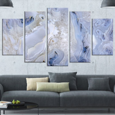 Designart Agate Stone Background White Abstract Canvas Wall Art Print - 5 Panels