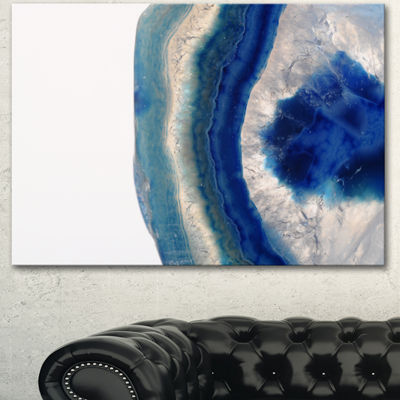 Design art Macro Of Blue Agate Stone Abstract Canvas Wall Art Print