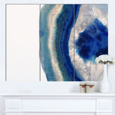 Designart Macro Of Blue Agate Stone Abstract Canvas Wall Art Print - 3 Panels