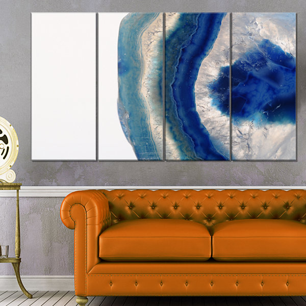 Designart Macro Of Blue Agate Stone Abstract Canvas Wall Art Print - 4 Panels